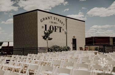 Kylee & Ryan Wedding - Rooftop ceremony seating